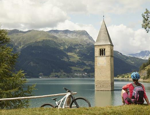 The start of the cycle path is at the famous Lake Resia