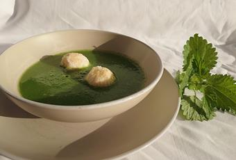 "Potato and Nettle Soup with Ricotta & Mascarpone ""Praline"" balls"