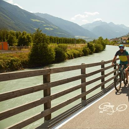 Vinschgau cycle path or Etsch cycle path from Lake Reschen to Merano along the Etsch river